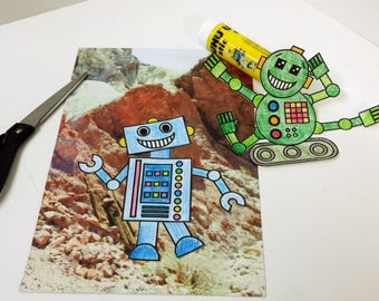 Robot Papercraft Instant Download, Build a Robot, Printable Robot Craft, Boys Papercraft, Group Party Activity, Childs Paper Craft PDF