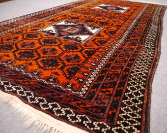 Balouch Rug 6.9 x 3.7 ft / 210 x 113 cm Bohemian Boho Style, persian carpet Afghan vintage Afghanistan semi antique