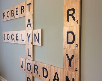 Scrabble /Oversized Scrable Letters Solid wood/Large
