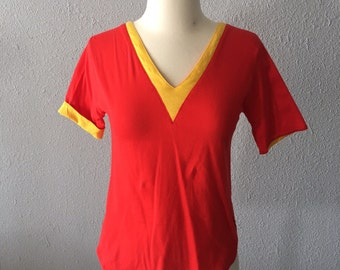 1970's Bloomingdale's Red and Yellow Blouse Vintage 70's Chevron Red Top