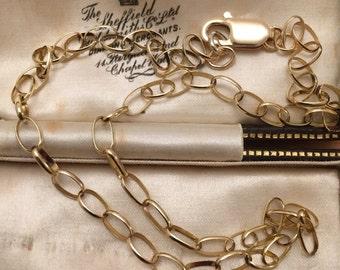 Vintage 9ct gold large link necklace - 16 inch