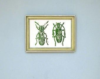 Two beetles.  DIN A6. Pressure. Linocut / hand printed