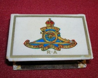 Vintage Royal Artillery Matchbox Tin Cover 1930's