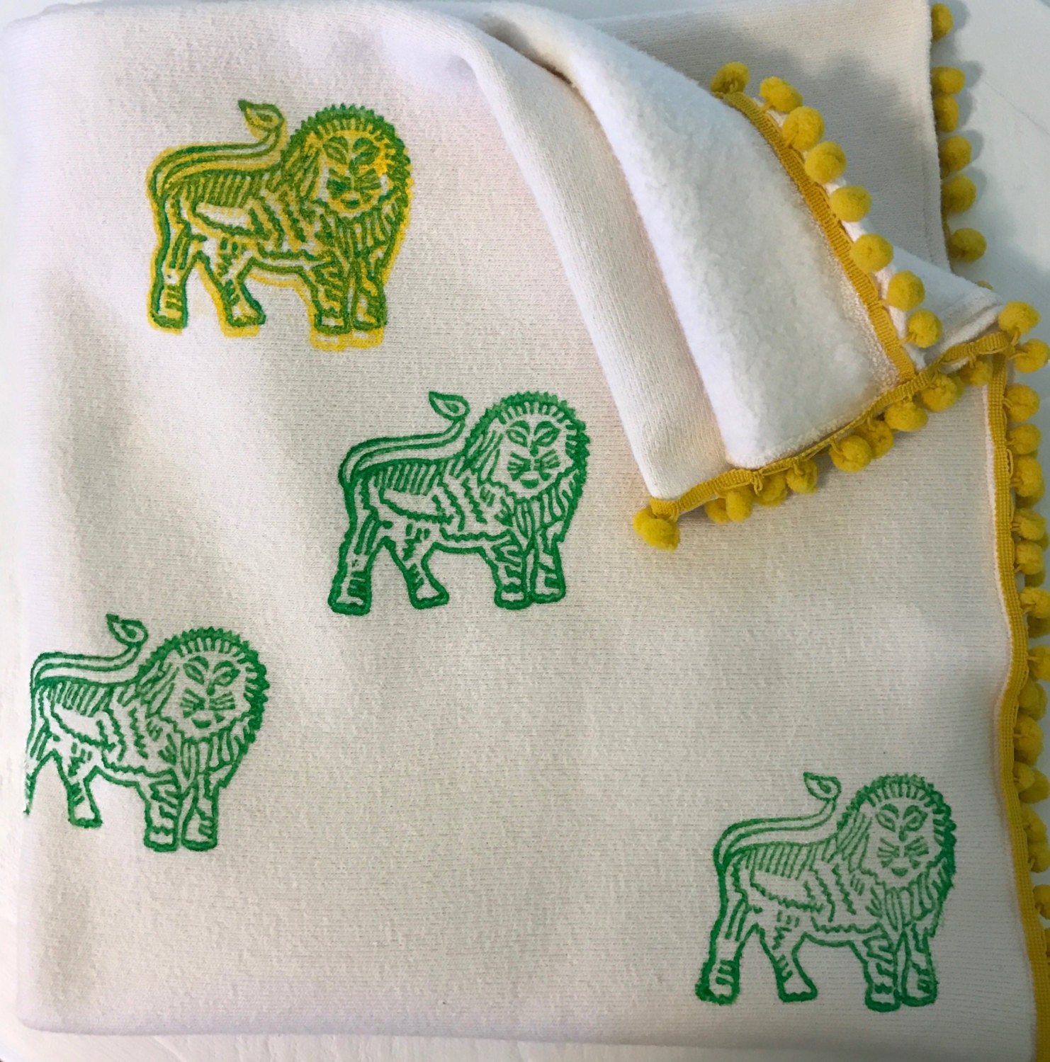 Baby Blanket / Organic Cotton Velour / Sherpa / Lion / Indian Print / Toddler / Boy Girl / Warm / Gift / Swaddle / Nursery Décor / Crib