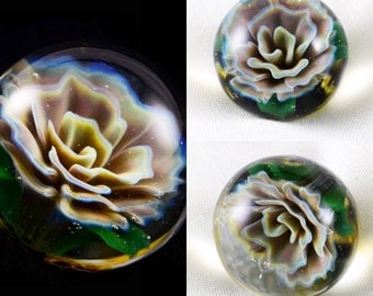 """Hand Blown Art Glass Abstract Colorful Flower Compression Solid 1 1/16"""" Marble"""