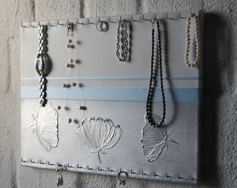 Jewelry holder, silver flowers-ice jewellery board