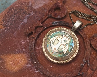 Sailor's heart. Anchor button.Necklace with handmade patina. Verdigris green gold. Used look antique style.Nautical jewelry Maritime jewelry
