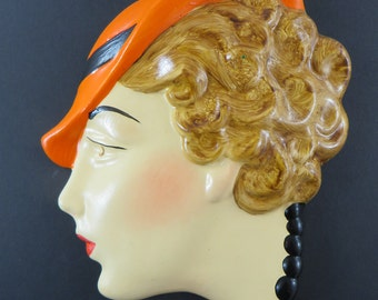 Art Deco style wall mask / head / plaque / hand painted with a gloss glaze 'Harriet'