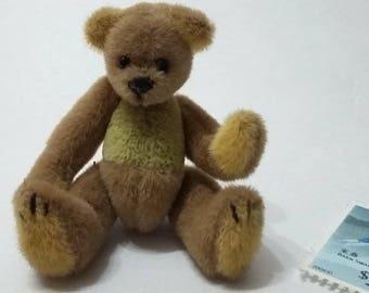 Handmade miniature teddy bear,2.5in tall, fabric plush toys,for doll houses,green tiny bear,collectible artist bear,limited edition