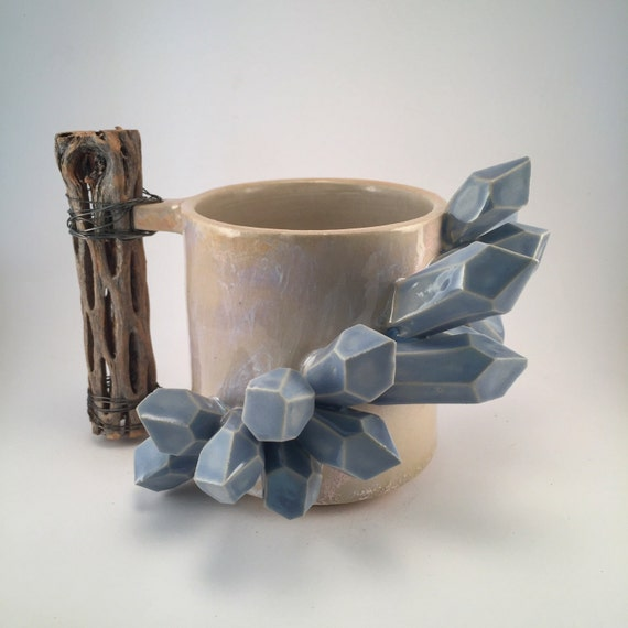 Periwinkle Crystal and Opal Tumbler with Cholla Wood Handle