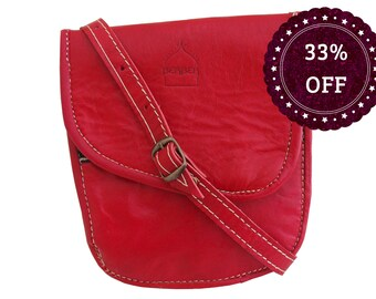 SALE Red Leather Handmade Travel Bag with adjustable Shoulder Strap Moroccan
