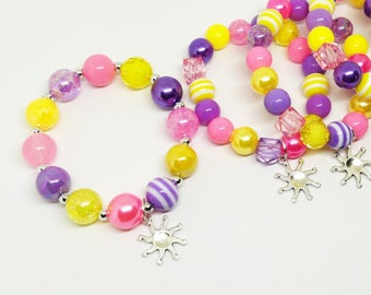 Rapunzel Tangled bracelets favors with special birthday girl bracelet! Free matching birthday girl necklace with orders of 15 + bracelets