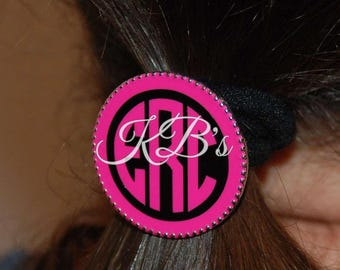 Monogrammed Pony Tail Holder, Custom Hair Tie, Hair Elastic, Ponytail, Hair band , Monogram Hair Tie, Hair Binder, Elastic hair tie