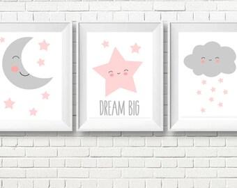 Set of Three Nursery Art Prints , Kids Wall Art, Star Moon, Printable Poster, Instant download,Kids room