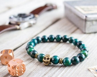 8mm - Greenish chrysocolla beaded stretchy bronze skull bracelet, custom made yoga bracelet, mens bracelet, green bracelet
