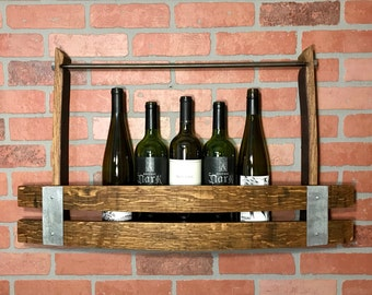 Wine Barrel Stave Wine Rack, Industrial, Rustic Wood Wine Holder