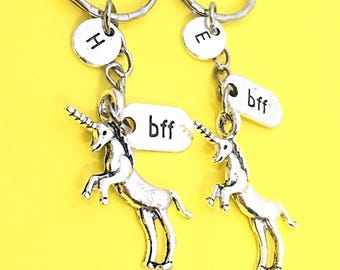Best friends keychain - set of two, bff charm, 2 bff keychain, personalized keychain,customized keychain,monogram,initial keychain, bff gift