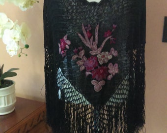 90's Vintage Black triangle crochet poncho with fringe and embroidered flowers Cover up Warmer Poncho By bebe Fit Sizes Above Large