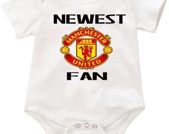 Newest Manchester United Fan  Onesie romper creeper Bodysuit