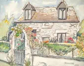 French cottage art original watercolour painting flower garden art, Jesamine