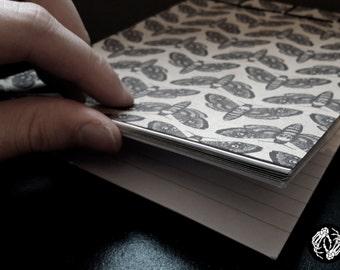 HANDMADE OCCULT NOTEPADS - Japanese Stab Binding - Bookbinding - Death's Head Moth - Human Skull - Dark Art - Tattoo - Blackwork