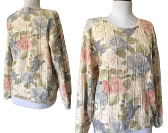 Vintage 90s Pastel Cotton Floral Printed Sweater — S/M