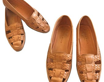 Vintage COLE HAAN Woven Leather Loafers With Cutouts — 6.5 B