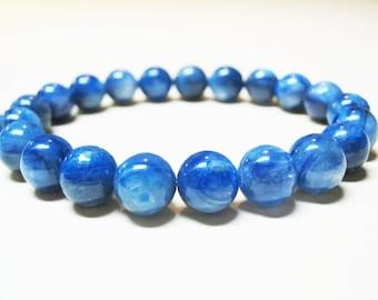 Genuine Kyanite Bracelet Blue Kyanite Bracelet Throat Chakra Bracelet Mens Bracelet Spiritual Bracelet Balance Bracelet 9mm Blue Kyanite