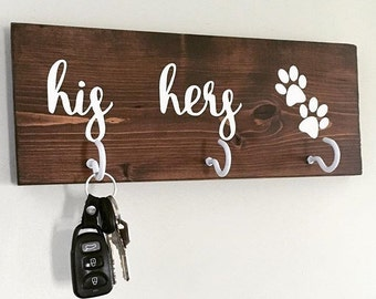 His Her Puppy Key/Leash Holder, His Her and Dog, Wooden Sign, Hand Painted Sign, Sign with hooks