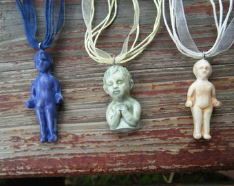 Creepy Cute Doll Parts Necklace Pastel Goth