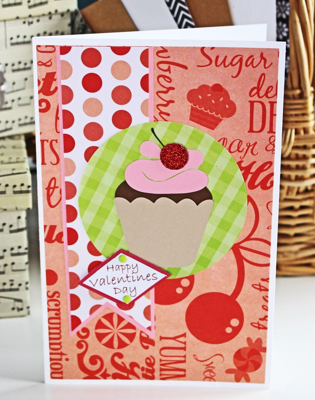 Cupcake Sweet Treats Valentine Card Cupcake Red Sweets – Cupcake Valentine Card