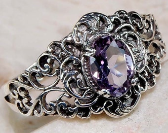 Detailed 2CT Amethyst & Sterling Silver Ring!
