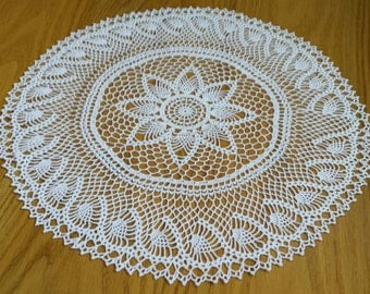 "New 15.5"" white handmade crochet doily / Lace doily / Table center decoration"