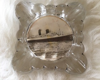 "Vintage Pocket Ashtray ""Ile de France"" Ocean Liner 1926"