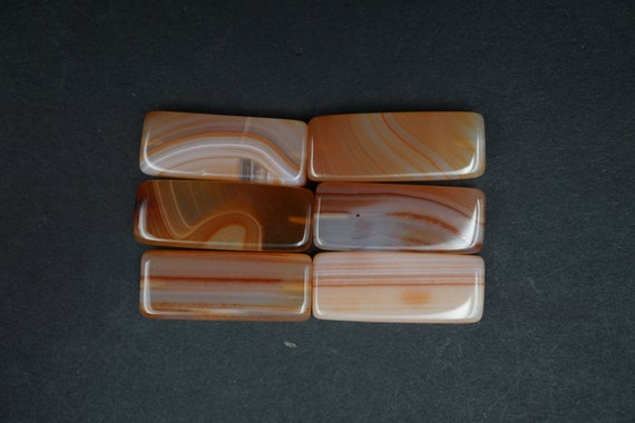 Lot of 6 Rectangular Shaped Smooth Agate Stones A-13