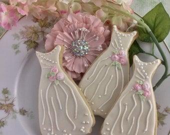 Wedding Dress Cookies, Bridal Shower, Rehearsal Dinner, Favor, Custom Cookies