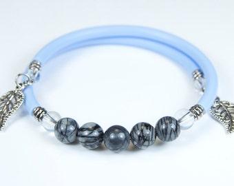 Jasper Picasso blue cord bracelet