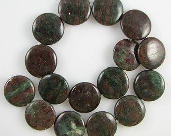 "25mm red green garnet coin disc beads 16"" strand S3 4375"