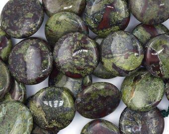 "20mm dragon blood jasper coin beads 15.5"" strand 36792"