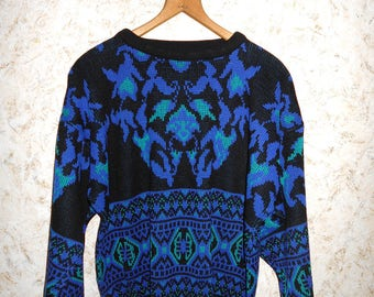 Vintagwe 80s 90s Hip Hop Crewneck Pullover Sweater Blue Black Long Sleeves Retro Hipster Acrylic Sweater Womens Medium