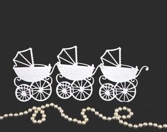 Baby Carriage Die Cuts, Vintage Style, Victorian Style Die Cuts, Pram Die Cuts, White