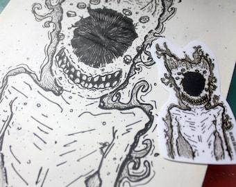 Black eye skinny monster Sticker - Black & White,darkness,weird,creepy,scared,terrible,scary,dead,line,dot,black eye,monster,skinny,thin
