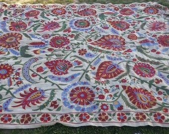 RARE Vintage  hand made cover,Bedspread,handmade textile,sofa cover,suzani silk, wall hanging, table cover,handmade cover