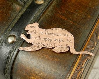 Cat brooch, cat pin, cat jewellery, animal jewellery, cat lover gift, cat fancier gift, text jewellery, quote jewellery, steampunk cat