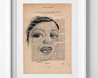 ONLY ONE. Nº 3 Dibujo a lápiz y tinta sobre papel reciclado 28x19cm. Regalo, navidad, Ilustración, la petite illustration, decoración, arte.