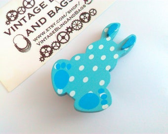 Blue wooden polka-dot rabbit pin, Easter Bunny, Easter gift, Easter Bunny badge, bunny badge, blue rabbit pin, bunny rabbit, blue bunny pin,