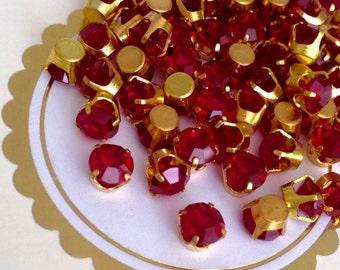 20 vintage siam ruby red swarovski austrian crystals in brass crown setting 6mm #dc29r-11