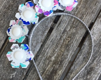 Sale! Hand-painted leather wired headband