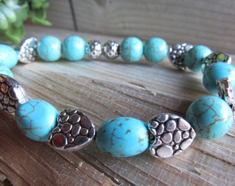 Turquoise Howlite and Silver Heart Bracelet