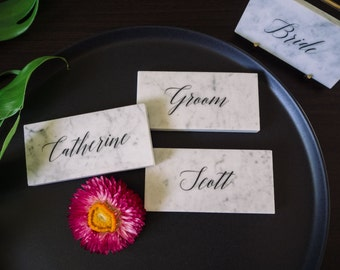 Carrara Marble Wedding Name Place Cards